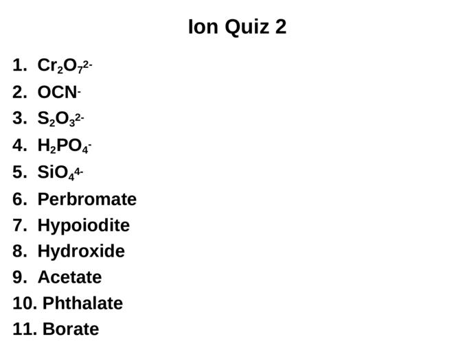 Chemistry: Unit 4 Inorganic Nomenclature Mr. Gower/Blake